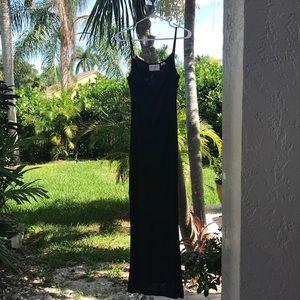 Black maxi drape neck dress